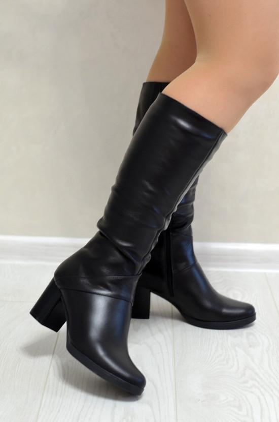 Сапоги кожаные   на устойчивом каблуке
