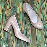 Туфли женские кожаные на высоком каблуке, цвет розовый, фото 4