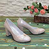 Туфли женские кожаные на высоком каблуке, цвет розовый, фото 5