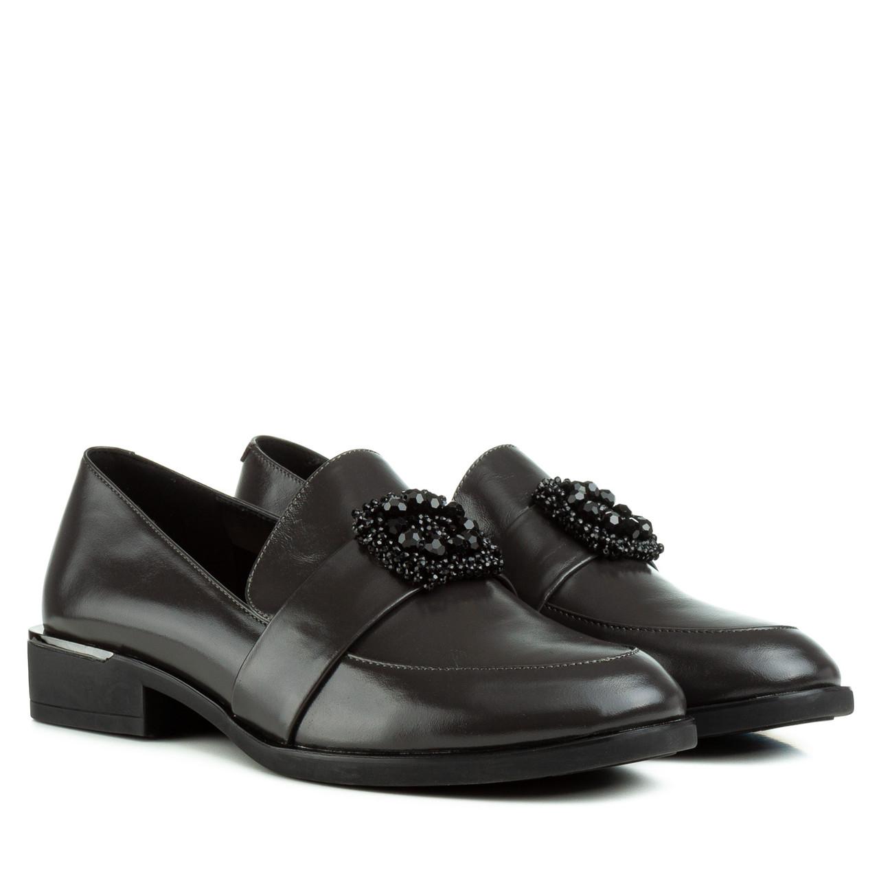 Туфли женские Brocoli(кожаные, элегантные, с брошкой)