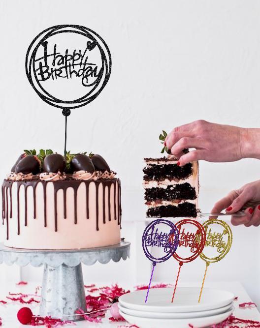 Топпер Happy Birthday в круглом ободке Пластиковый черный топпер в круге на торт Топперы из пластика в торт