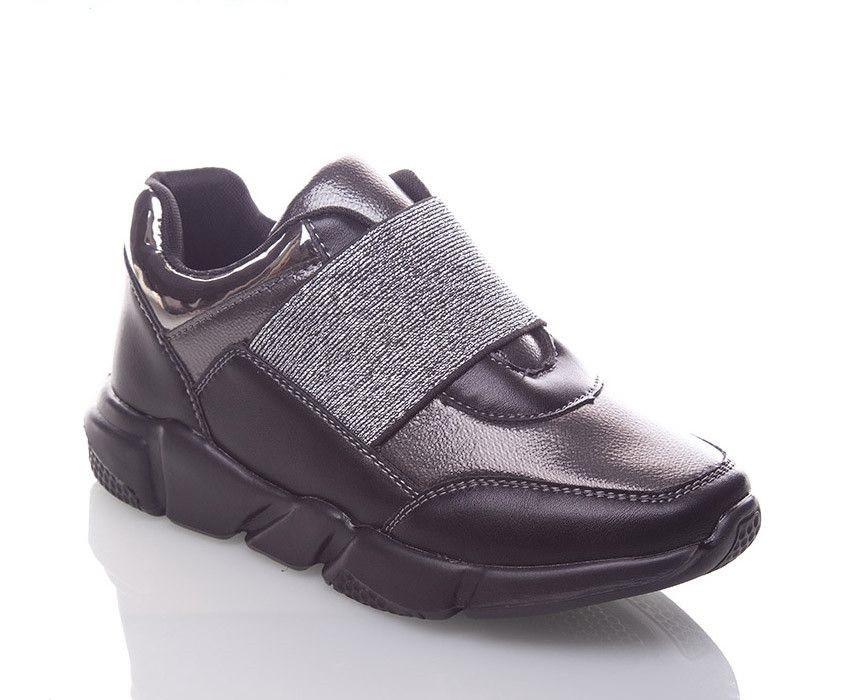 Кроссовки Jong Golf детские чёрные с серебристым, размеры в наличии ► [  32 33 34 35 36 37 ]