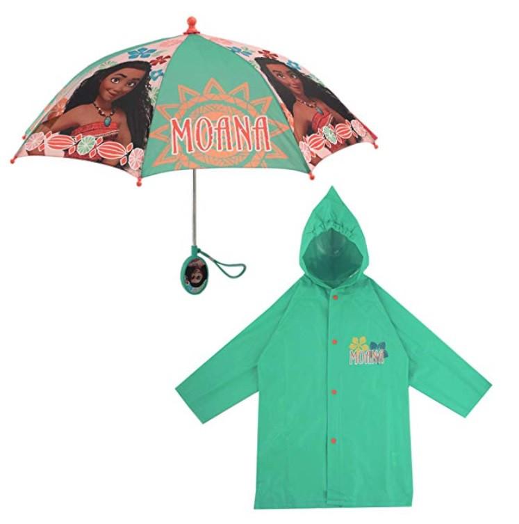 """Дитячий дощовий набір SUNROZ плащ-дощовик з парасолею """"Moana"""" 4-5 р. (SUN5318)"""