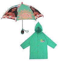 """Дитячий дощовий набір SUNROZ плащ-дощовик з парасолею """"Moana"""" 6-7 р. (SUN5319), фото 1"""