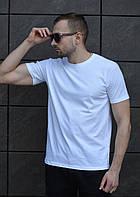 Однотонная мужская футболка из хлопка в белом цвете