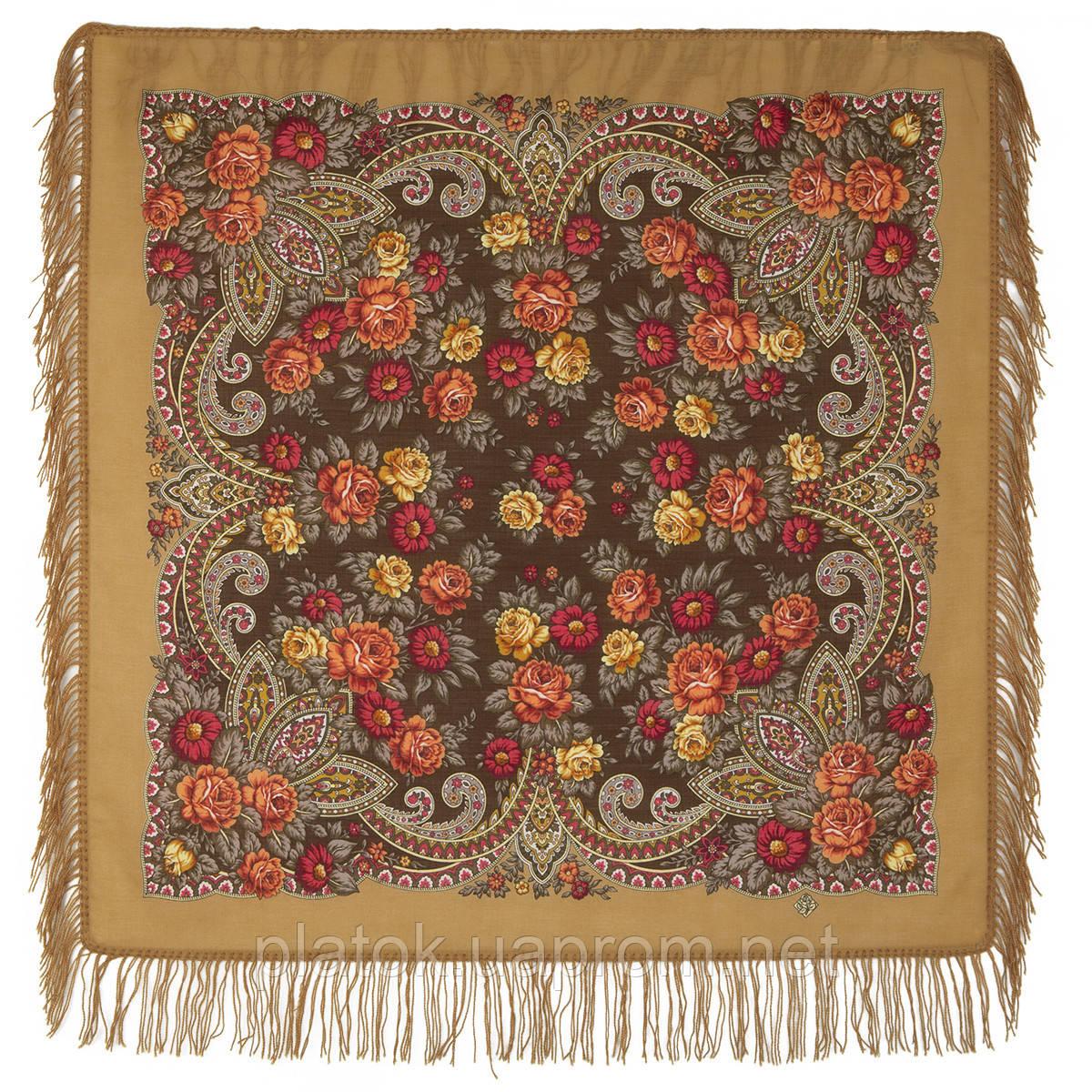 Чаровница 1696-16, павлопосадский платок шерстяной с шерстяной бахромой