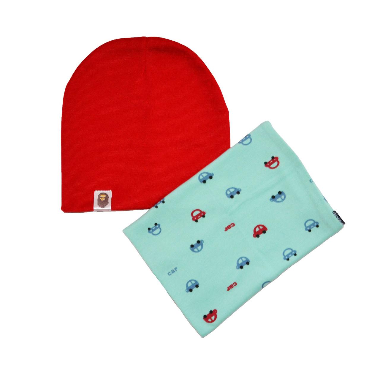 Набор шапка и шарф с узором машинки