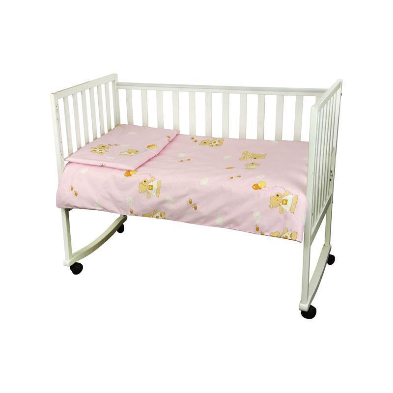 """КПБ в детскую кроватку 60х120 """"Малыш"""" бязь (Розовый) мишка с шариком"""