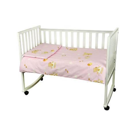 """КПБ в детскую кроватку 60х120 """"Малыш"""" бязь (Розовый) мишка с шариком, фото 2"""