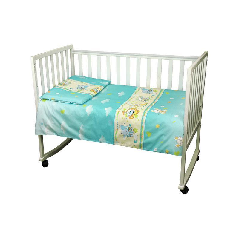 """КПБ в детскую кроватку 60х120 """"Малыш"""" бязь (Голубой) мышка с сыром"""