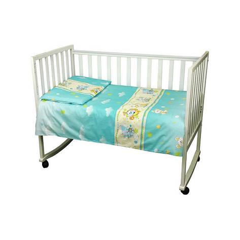 """КПБ в детскую кроватку 60х120 """"Малыш"""" бязь (Голубой) мышка с сыром, фото 2"""