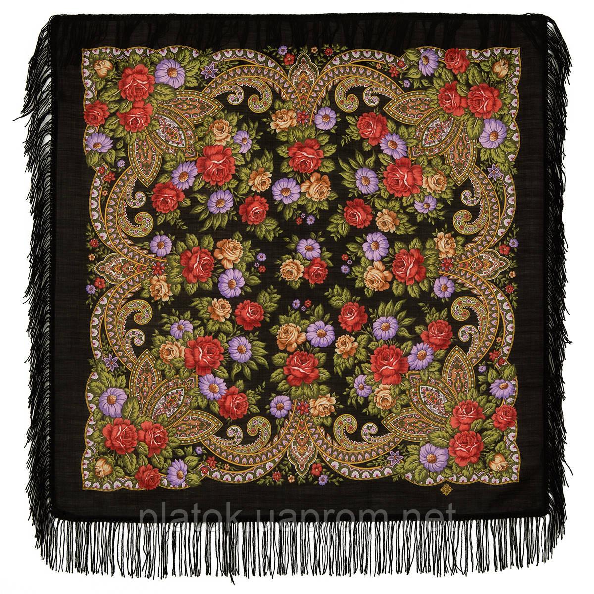 Чаровница 1696-18, павлопосадский платок шерстяной с шерстяной бахромой