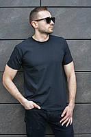 Мужская хлопковая футболка на лето однотонная (черная)