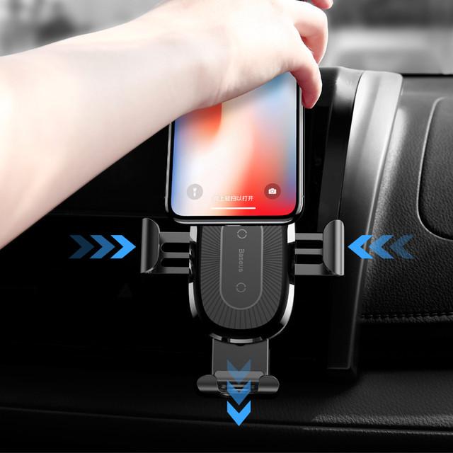 Универсальный автомобильный держатель для телефона c беспроводным зарядным устройством QI Baseus 10W WXYL-09 (Красное)