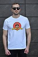 Стильная футболка мужская Looney Tunes, с принтом зайца (белая)