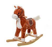 Детская музыкальная лошадка качалка для ребенка рыжая