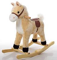 Детская музыкальная лошадка качалка для ребенка бежевая