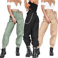 Штаны женский молодежные стильные с цепочкой, фото 1