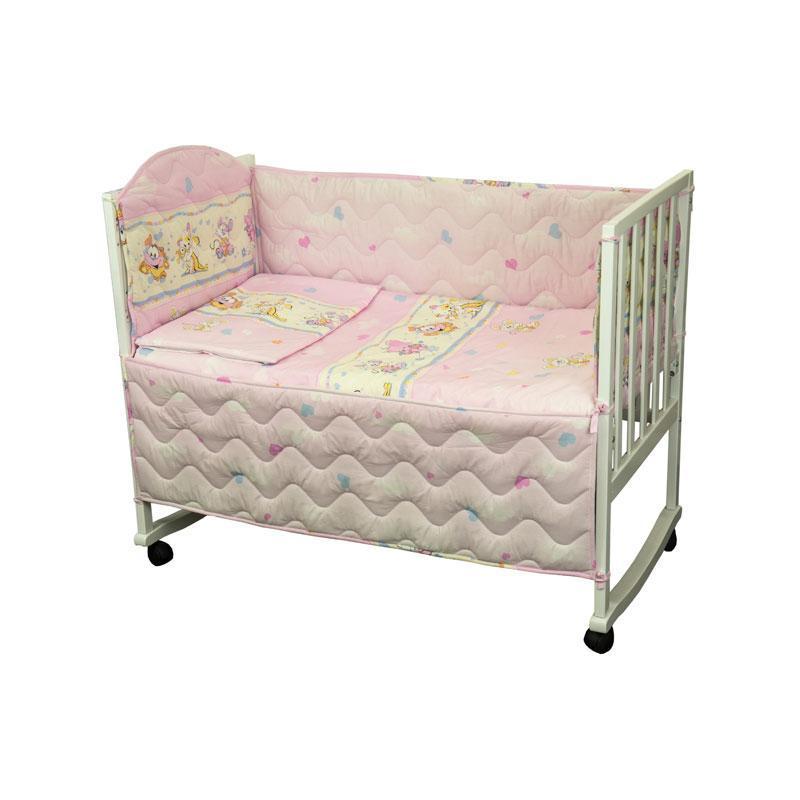 Набор в детскую кровать размер 60х120 (Розовый) мышка с сыром