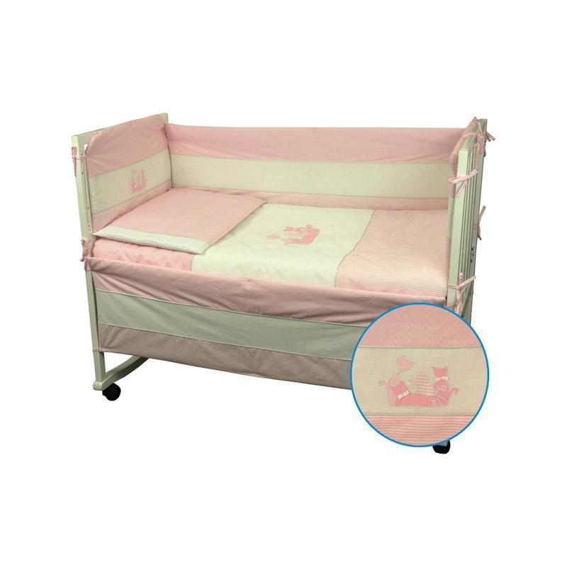 """Набор в детскую кровать размер 60х120 """"Котята"""" Розовый"""