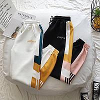 Штаны спортивные женские молодежные с полосками на резинке, фото 1
