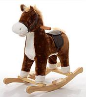 Детская музыкальная лошадка качалка для ребенка Коричневый