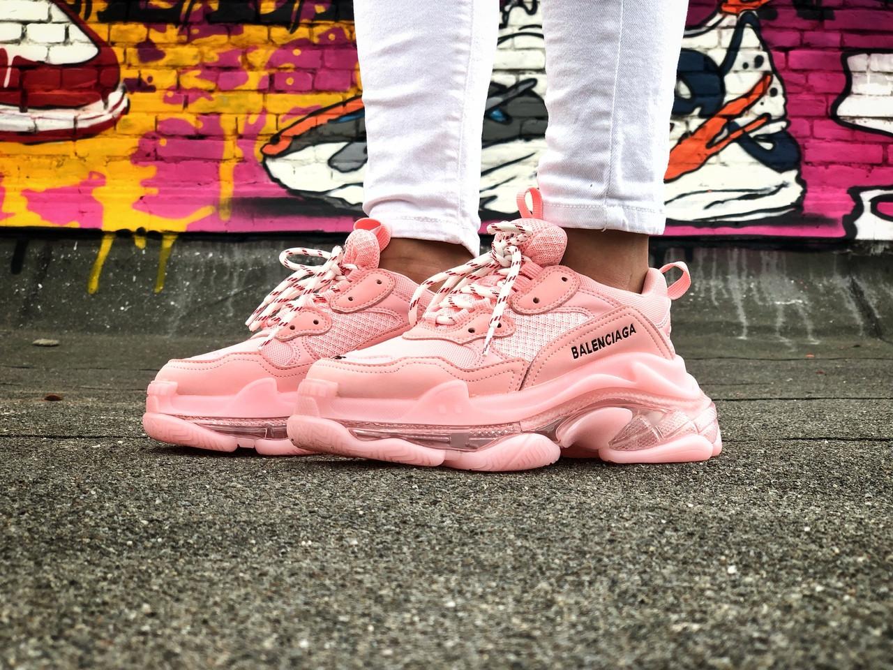 Кроссовки женские розовые Balenciaga Triple S.