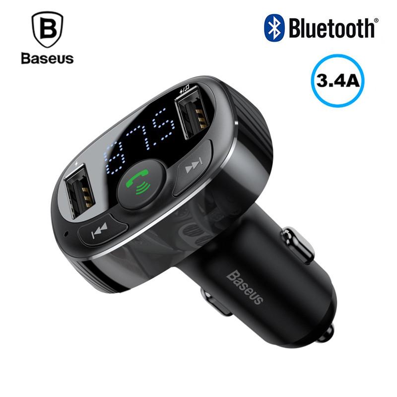 FM трансмиттер модулятор Baseus S-09 T-Typed Bluetooth c функцией зарядного устройства (Черный, два USB-порта)