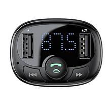 FM трансмиттер модулятор Baseus S-09 T-Typed Bluetooth c функцией зарядного устройства (Черный, два USB-порта), фото 3
