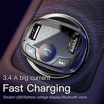 FM трансмиттер модулятор Baseus S-09 T-Typed Bluetooth c функцией зарядного устройства (Черный, два USB-порта), фото 2
