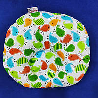 Детская подушка для новорожденных 25х35 плюш и птички