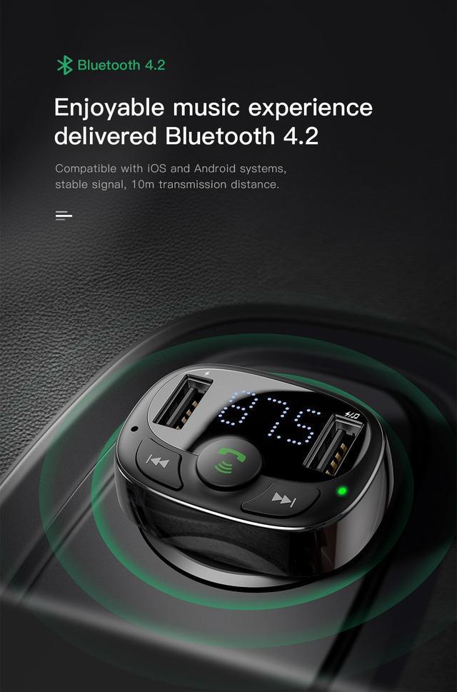FM трансмиттер модулятор Baseus S-09A T-Typed MP3 Car Charger Black CCTM-01 c функцией зарядного устройства Черное два USB-порта