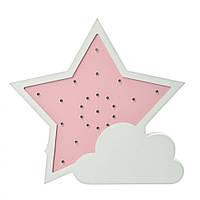 Детская деревянная игрушка ночник для малыша Звезда розовый