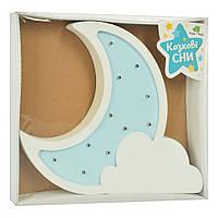 Детская деревянная игрушка ночник для малыша Месяц голубой