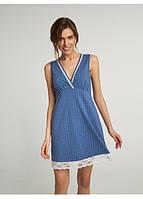Сорочка нічна жіноча для сну синя зимові квіти, 95 % хлопок, ELLEN, LND 250/001