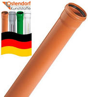 Труба для канализации  110 мм  х  3,2 мм х 5 м SN 4 ОСТЕНДОРФ наружная канализация  поливинилхлорид (Германия)