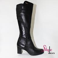 Сапоги женские демисезонные из качественной кожи на каблуке