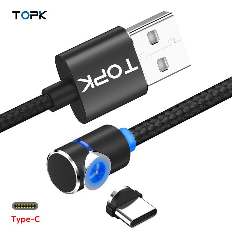 Магнитный кабель USB Type-C Topk для зарядки телефона (Черный, 1м)