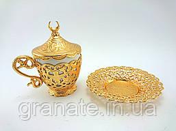 Турецкая чашка для кофе 110 мл, цвет: золото
