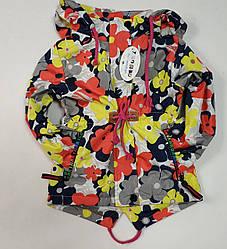 Демисезонная детская куртка ветровка для девочки цветы 3-4 года