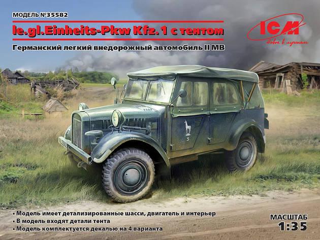 Немецкий легкий внедорожный автомобиль le.gl.Einheitz-Pkw Kfz.1 с тентом, ІІ МВ. 1/35 ICM 35582, фото 2