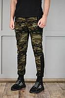 Мужские спортивные штаны из коттона и трикотажа, камуфляжные, фото 1