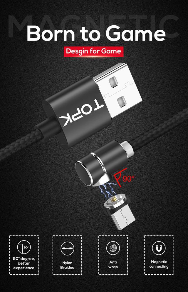Магнитный кабель Micro USB Topk для зарядки телефона Черный 1м