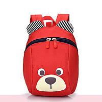 Рюкзак детский маленький, мишка. Красный с поводком.