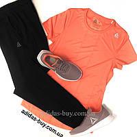 Женский спортивный костюм Reebok футболка и штаны оригинал DU4209 цвет: чёрный/коралловый сезон:весна/лето