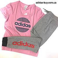 Спортивный костюм adidas футболка и штаны комплект женский оригинал DU0700 цвет: серый/розовый