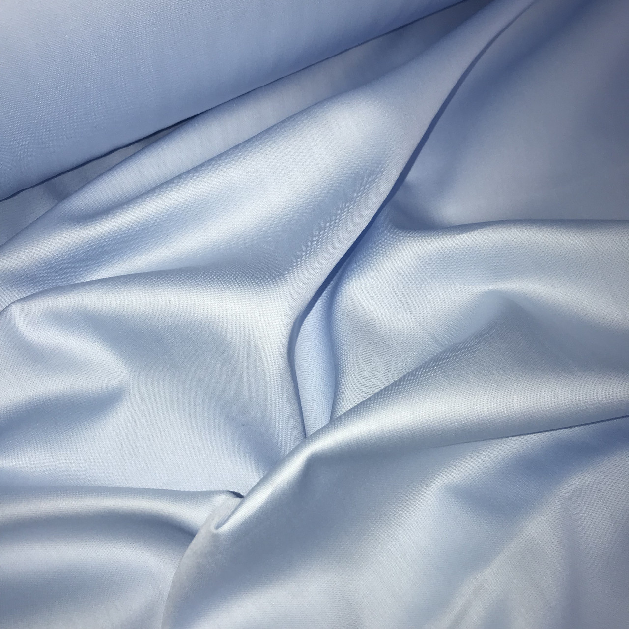 Сатин голубой для постельного белья,  мерсеризованный  (ТУРЦИЯ) ОТРЕЗ (размер 0,4*2,4 м)