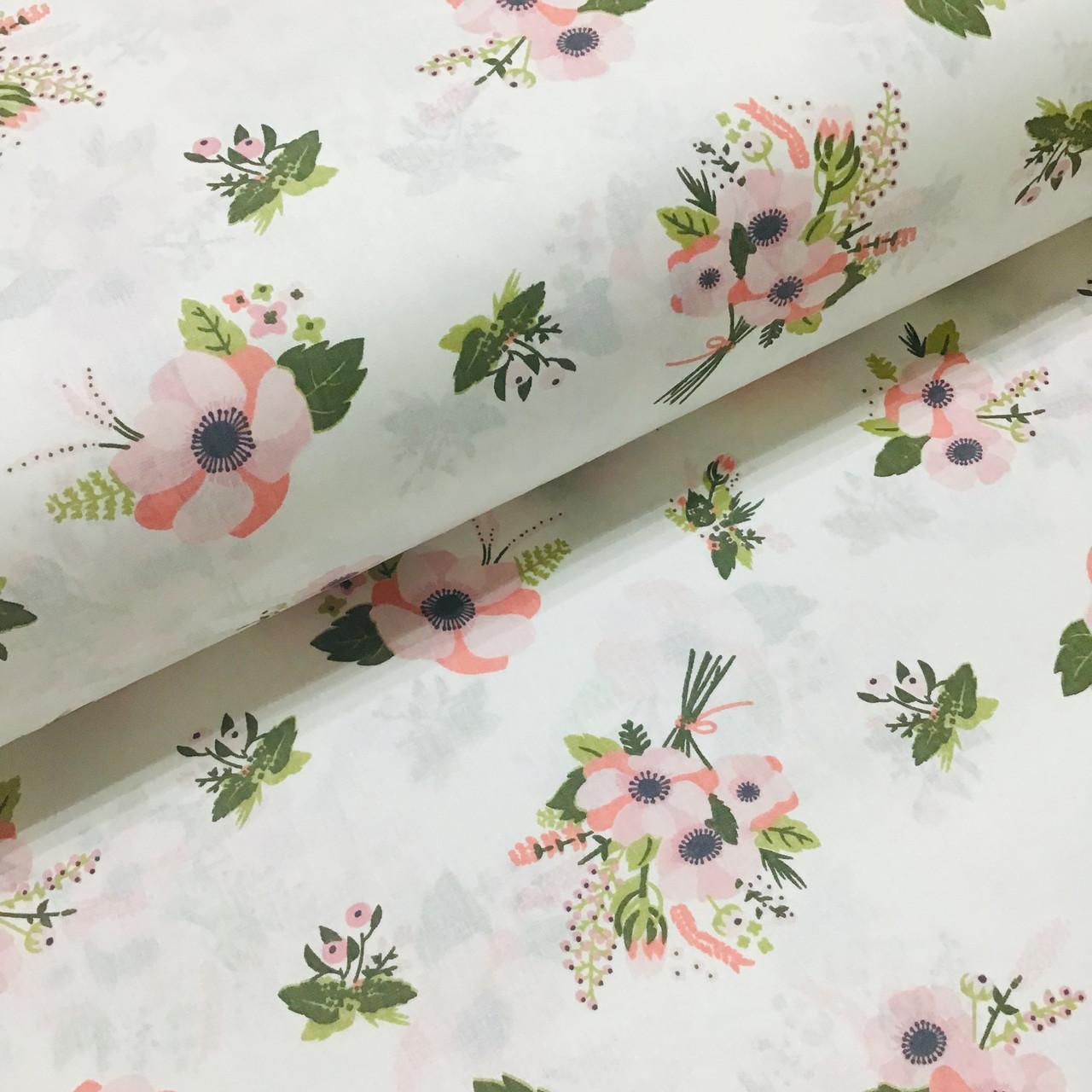 Ткань поплин анемоны розовые на белом (ТУРЦИЯ шир. 2,4 м) №32-252 ОТРЕЗ(0,37*2,4)