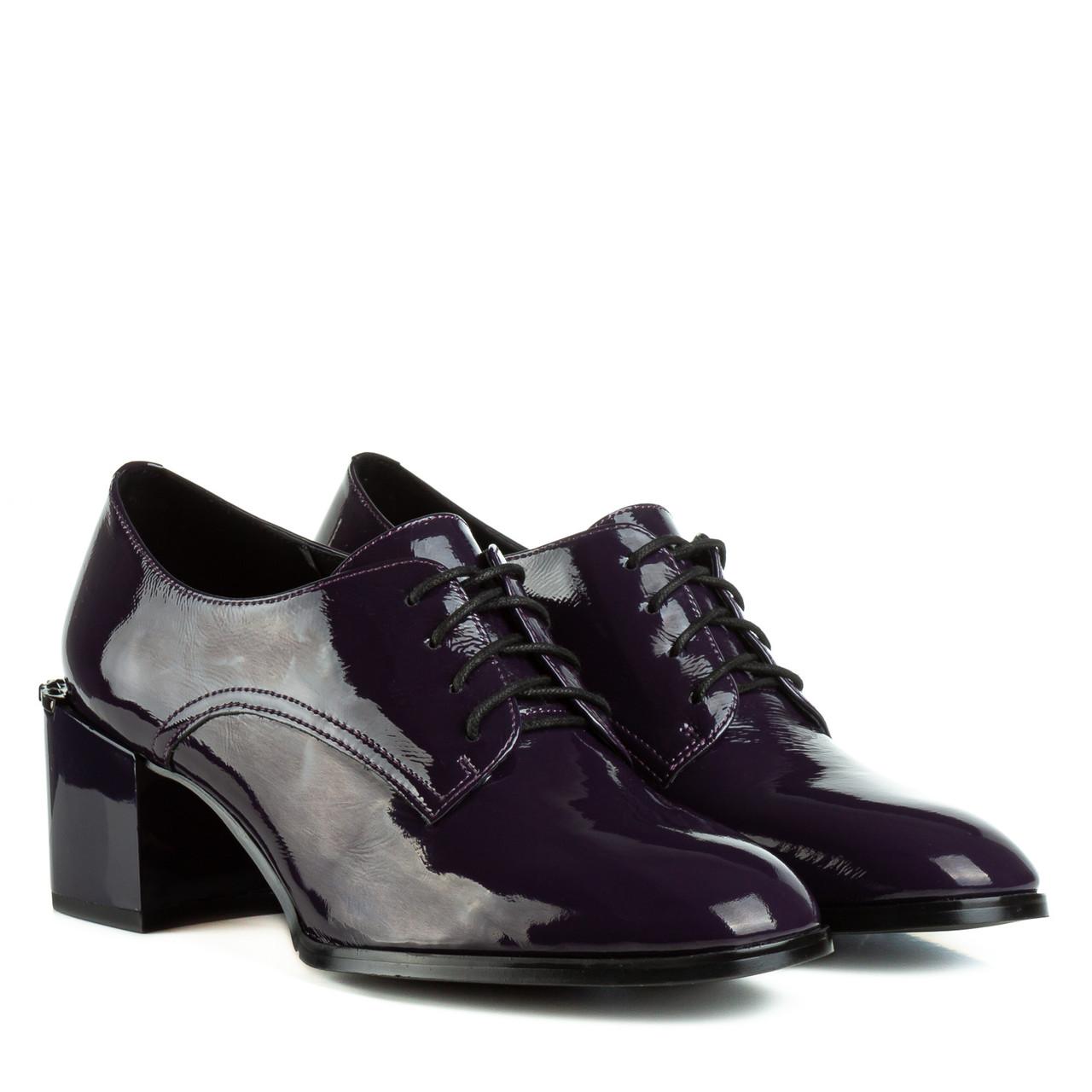 Туфли женские Molka(кожаные, лакированные, фиолетовые, на шнурках)