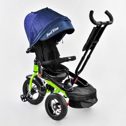 Трехколесный велосипед Best Trike с пультом и надувными колесами, синий с салатовым